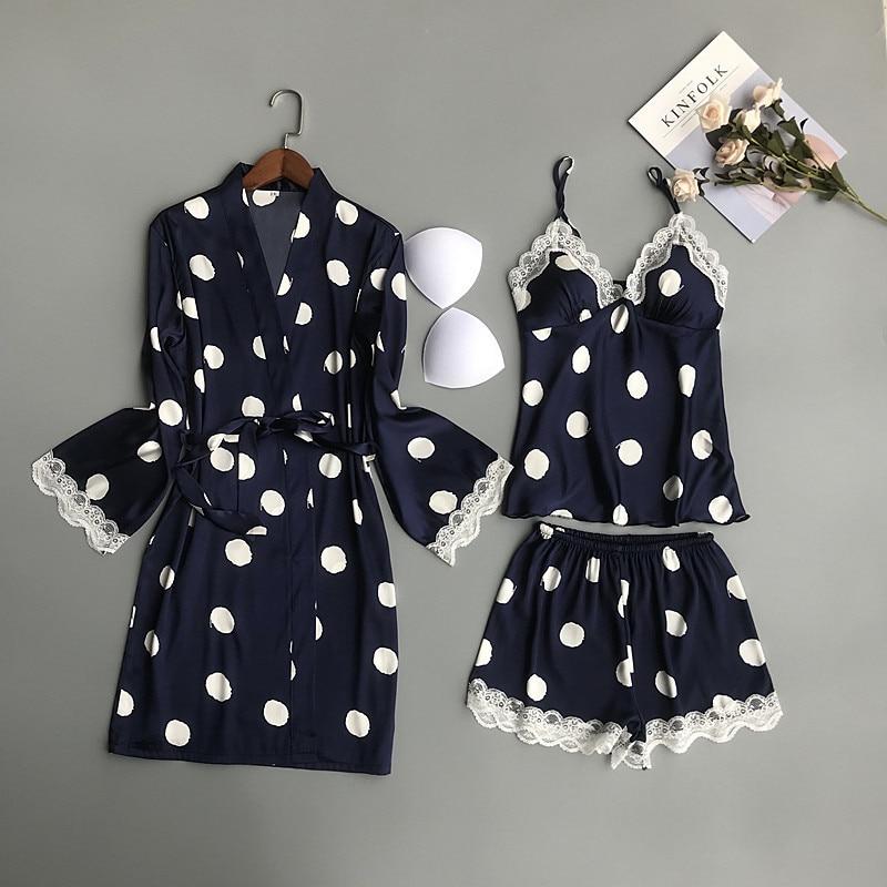 QWEEK Women Satin Sleepwear Polka Dot Pyjamas Women Silk Pijama Mujer Cute 3 Pieces Sets with Chest Pads Casual Pajama Sets