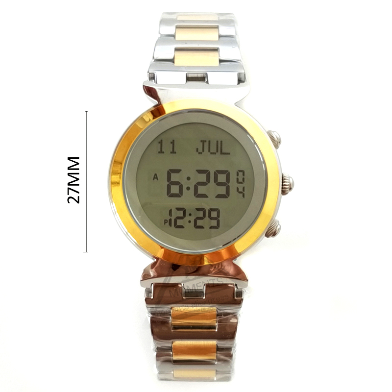 Watches The Cheapest Price Lady Harameen Wrstwatch With Qiblah 27mm Stainless Steel 3 Bar Waterproof Female Athan Clock For Muslim Prayer Leather Box Attractive Designs;