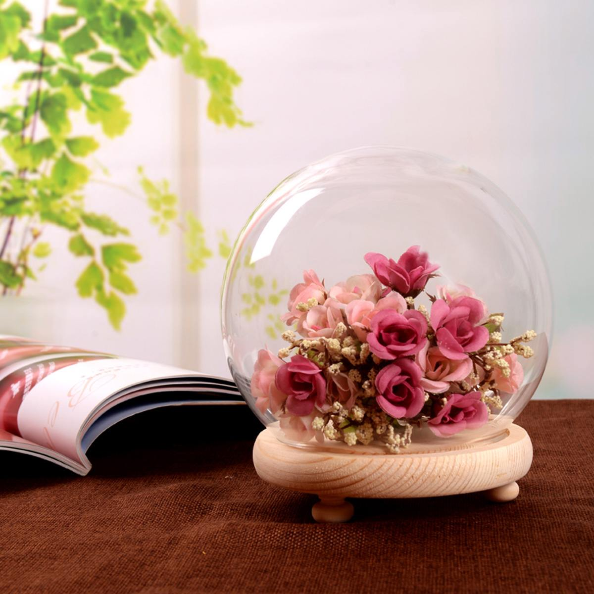 Glass Globe Display Dome Cover Cloche Bell Jar Dry Flower Vase with Wood Base Landcrape Figurines Model Display Home DecorationGlass Globe Display Dome Cover Cloche Bell Jar Dry Flower Vase with Wood Base Landcrape Figurines Model Display Home Decoration