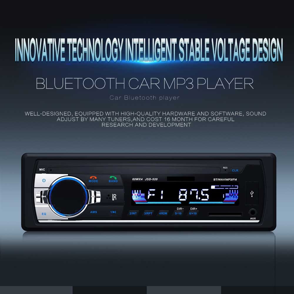 HEVXM Bluetooth Auto radio Car Stereo Radio FM Aux Input Receiver SD USB JSD-520 12V In-dash 1 din Car MP3 Multimedia Player
