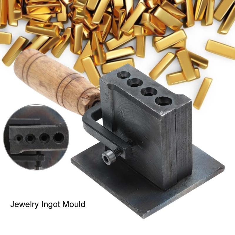 Rectangle Gold Ingot Mold Wooden Handle Casting Melting Shaping Molding Tool