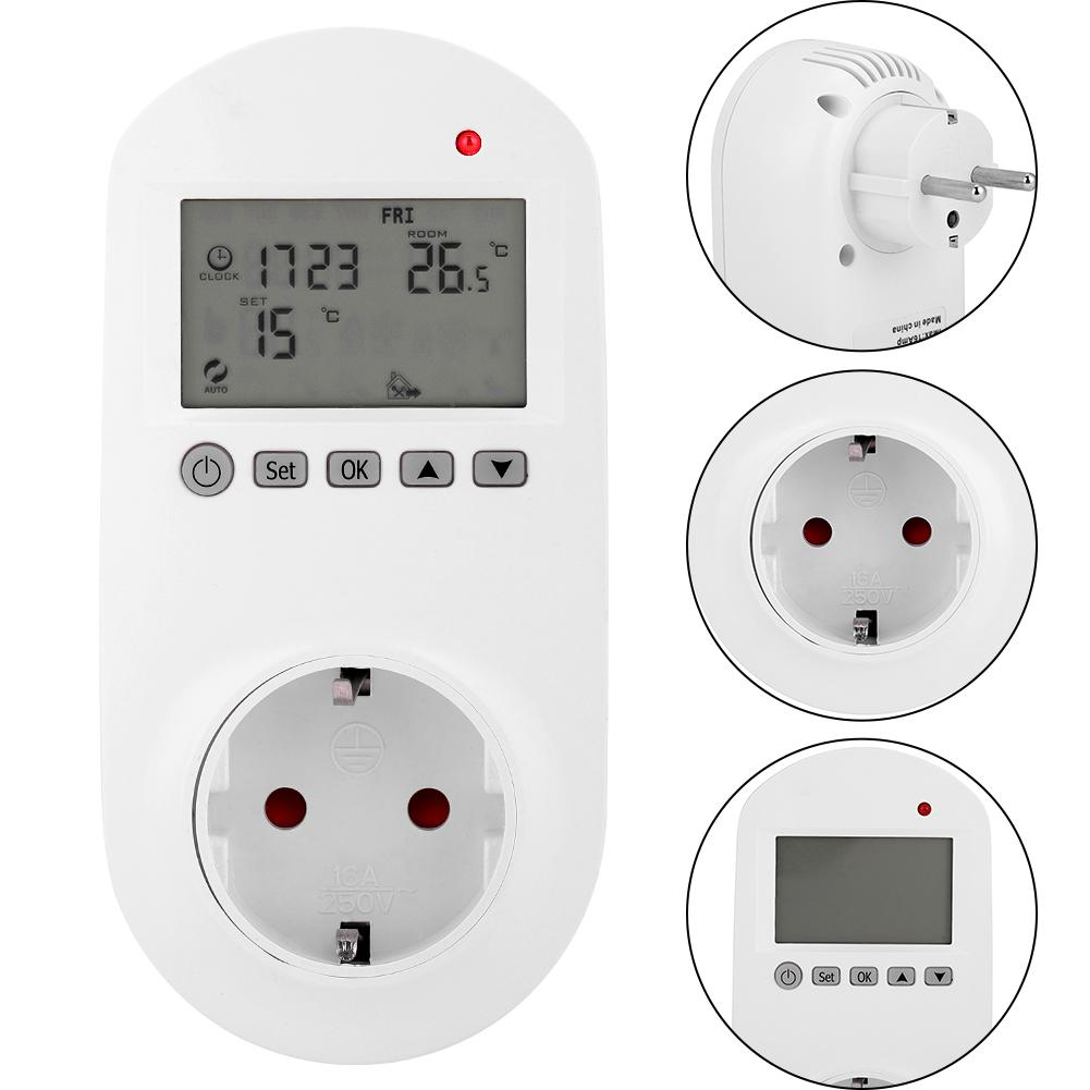 Electric Wireless Socket Digital Heating Thermostat Temperature Controller LCD Display Temperature controller EU Plug 200-240V