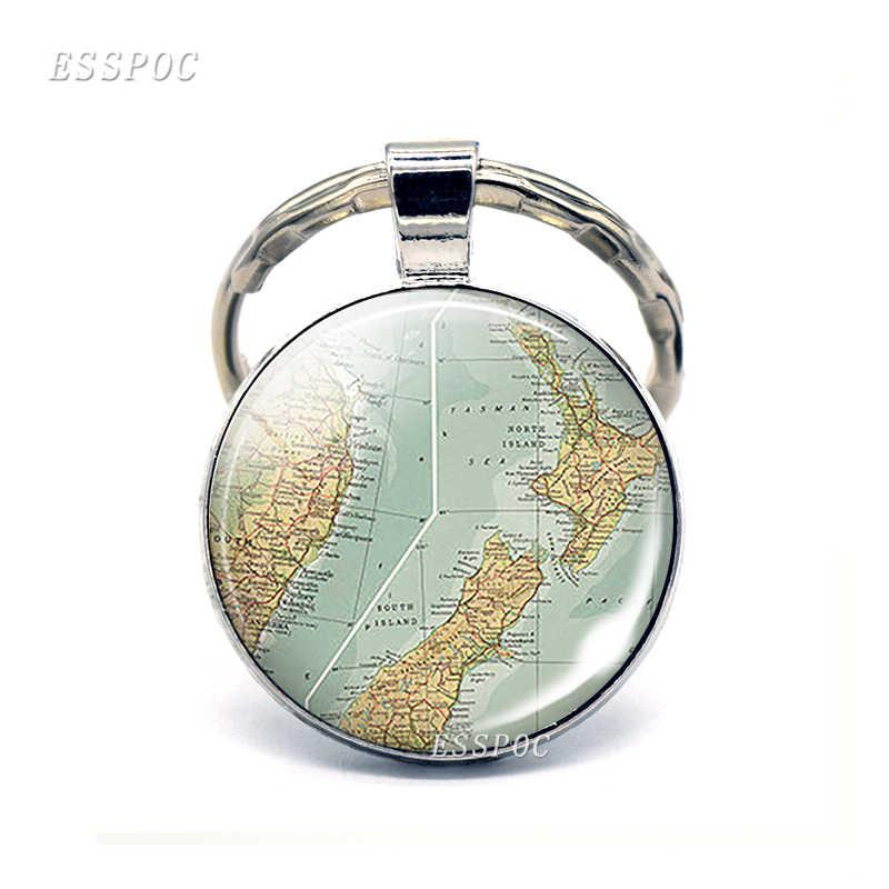 Austrália mapa de vidro cabochão pingente chaveiro nova zelândia mapa cúpula chaveiro moda lembrança jóias presente para mulher
