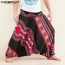 INCERUN-pantalones bombachos de tiro caído para hombre, pantalón de chándal de pierna ancha, estilo Dashiki, hip hop, estilo africano, 5XL, dibujo étnico, 2020