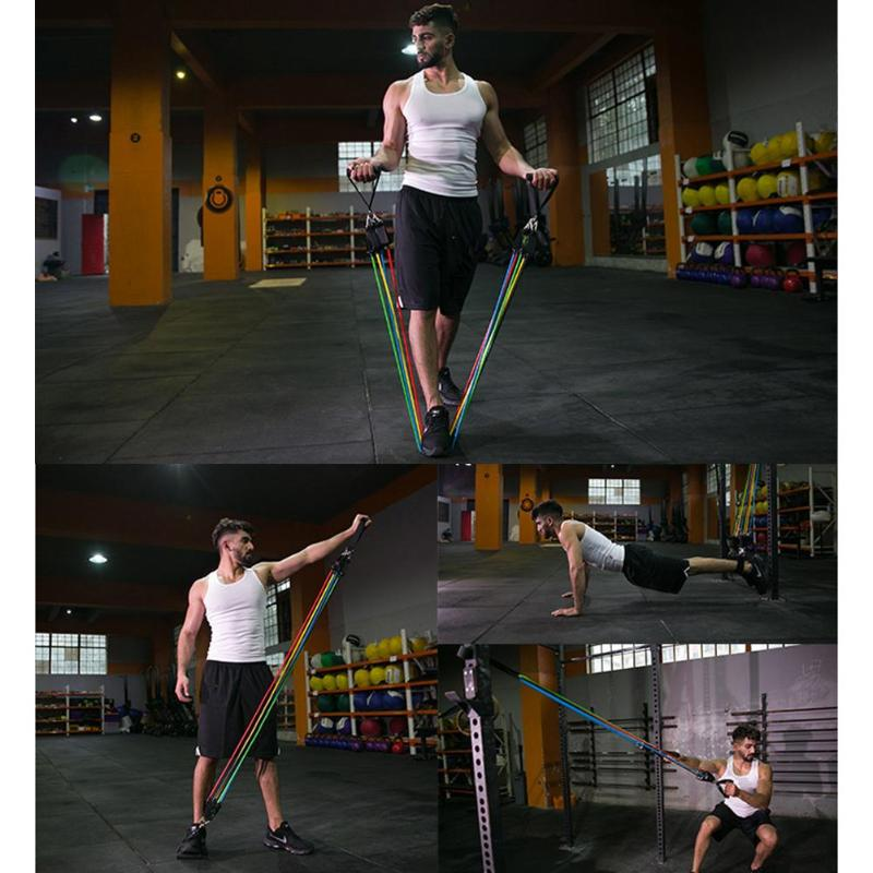 11 pcs/set Pull Rope Fitness Exercises Resistance Bands Latex Tubes Pedal Exerciser Body Training Workout Yoga