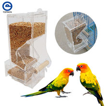 Acrylic Automatic Bird Feeder Pet Bird Cage Feeder Food Container Feeding Cockatiel Automatic Feeders Cup Feeder(China)