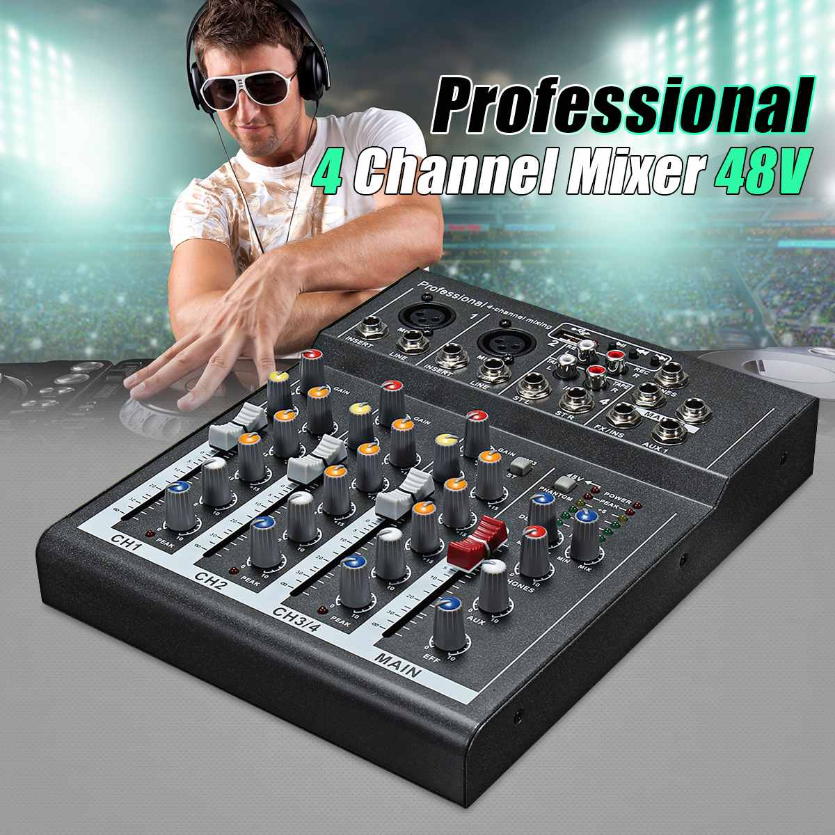 4 Channel Mini Portable Audio Mixer with USB DJ Sound Mixing Console MP3 Jack Karaoke 48V Amplifier For Karaoke KTV Match Party4 Channel Mini Portable Audio Mixer with USB DJ Sound Mixing Console MP3 Jack Karaoke 48V Amplifier For Karaoke KTV Match Party