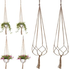 2/4pcs 120cm Plant Flower Hanger Macrame Jute For Indoor Outdoor Ceiling Deck Balcony Round And Square Pots Garden Home Decor(China)