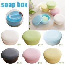 Portable Travel Round Soap Dish Holder Box Containers Double Layer Draining Home Plastic For Bathroom Kitchen