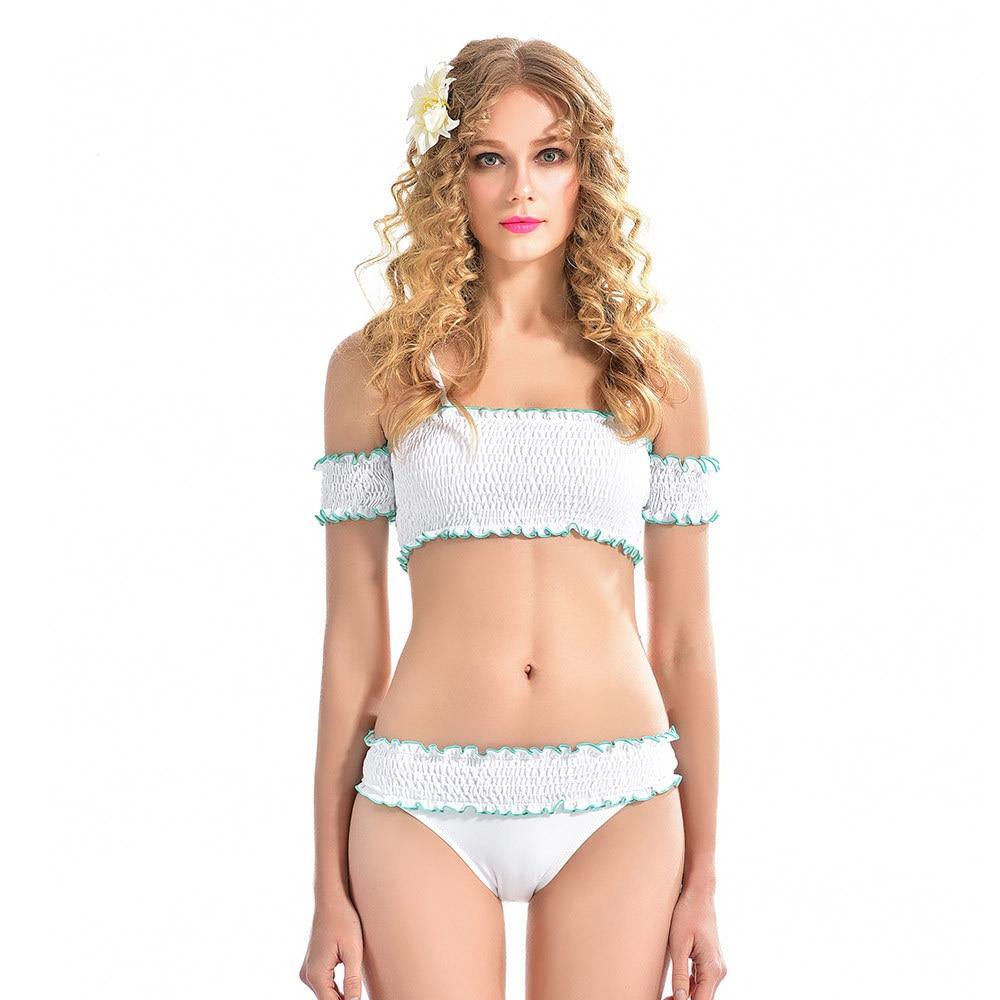 Maillot de bain nouveau maillots de bain unis femmes Sexy croix dentelle Bikini Ms. bustier tubulaire plissé taille haute maillot de bain brésilien Bikini ensemble 2019