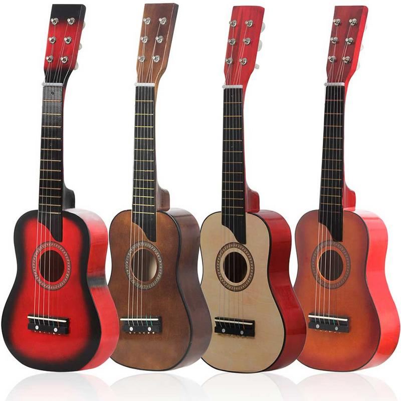 25 Inch Small Guitar Ukulele Six-string Wooden Children's Toy Guitar Beginner Solid Wood Small Guitar Four Colors Optional