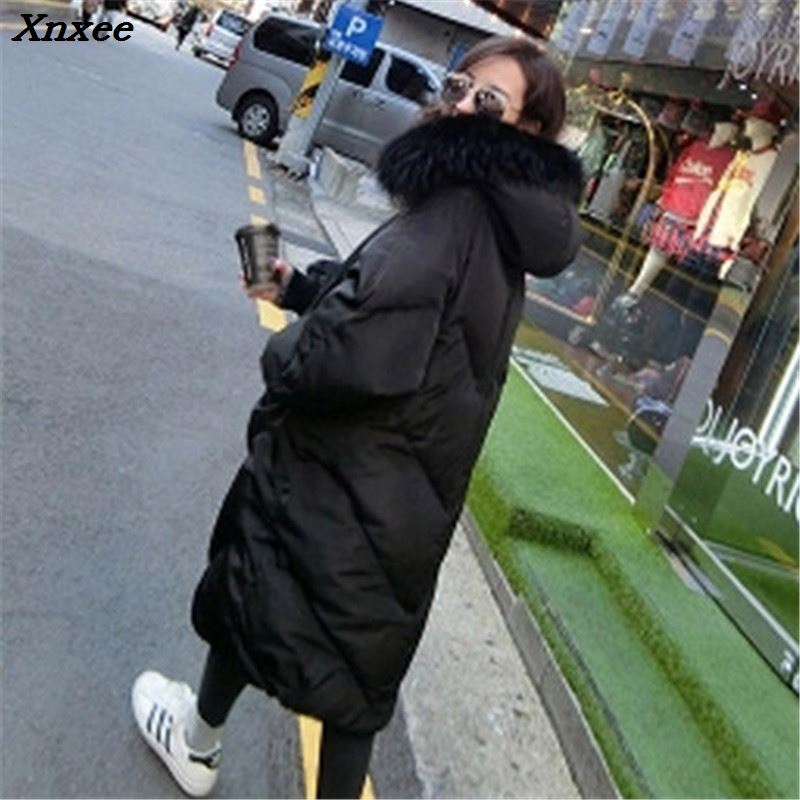 2018 New Oversized Coats Thick Winter Jacket Women Hooded Fur Collar Down Cotton Coat Long Female Parkas Mujer Maxi