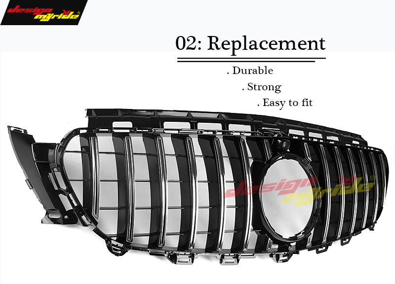 GT R Style Grille W213 Sport E63AMG Look ABS Silver With camera For Mercedes E class E200 E250 E300 E350 grills Without sign 16 in Racing Grills from Automobiles Motorcycles
