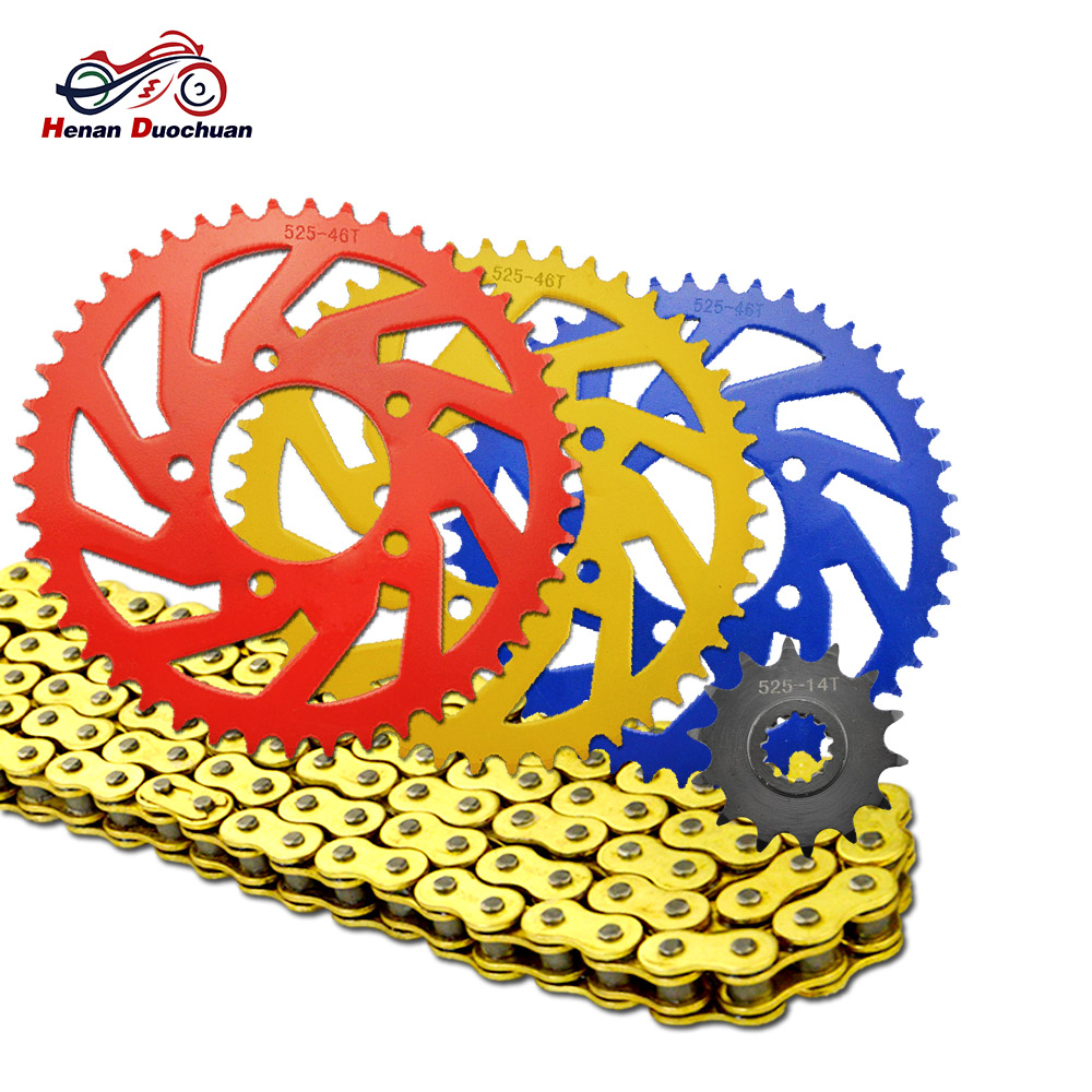 hight resolution of 525 525 14t 525 46t motorcycle transmission chain and colored front rear sprocket kit