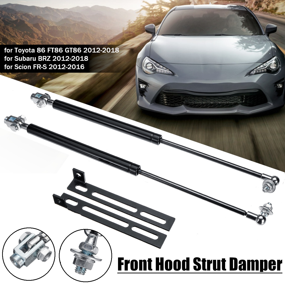 2 Hood Lift Supports Front Struts Prop Rods Arms Damper Gas Springs Shocks NEW