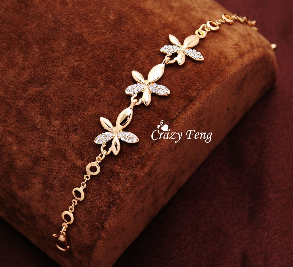 Crazy Feng Goldcolor Shine White Crystal Flower Charms Bracelets Bangles Wedding Jewelry Gift