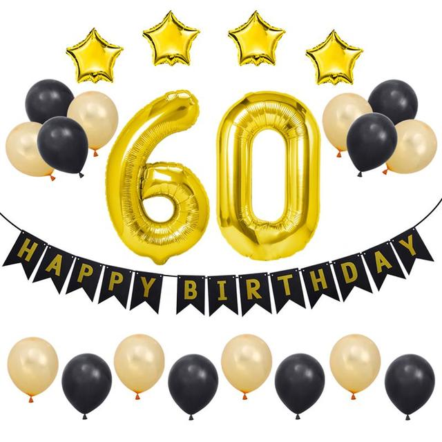 23 Pcs 60th Happy Birthday Decorations Party Supplies Aluminum Foil Balloons Bunting Banners Latex Balloon Set