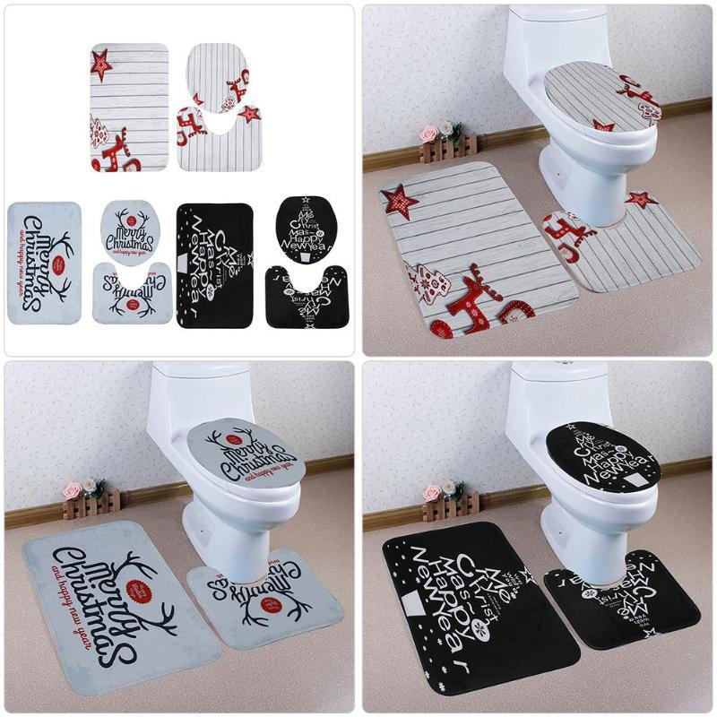 3 Pcs Bathroom Mat Set Christmas Printed Bathroom Rug Set