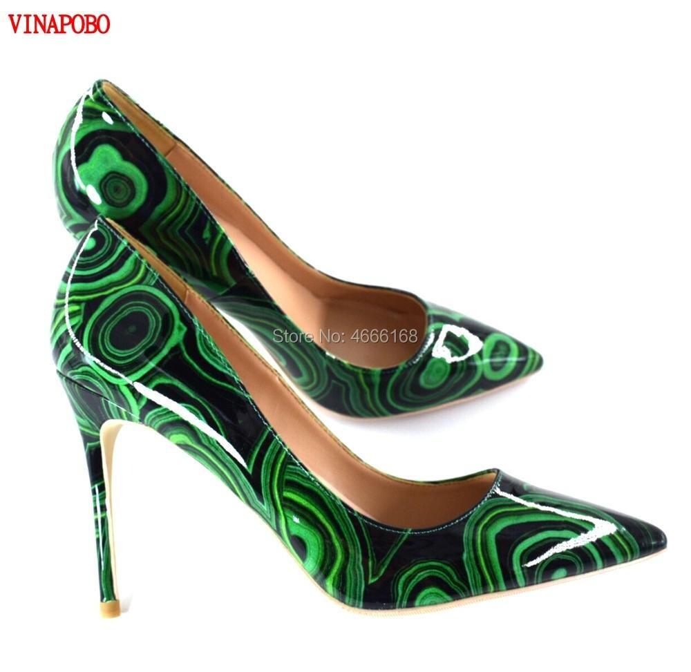 2019 nouveau chaud mode vert imprimé cuir verni 12 CM haut sexy marque femmes pompes à talons hauts 10 cm 8 cm fête mariage chaussures femme