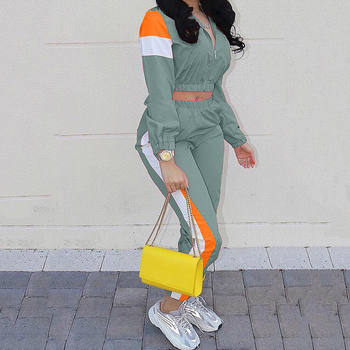 2020 New Women Two Piece Set Zipper Crop Tops and Pants Hip Hop Club Outfit Panelled 2 Piece Set Tracksuit Women Joggers Suit 2 piece set women sports suit female summer 20 new loose hip hop foreign fashion two piece set tide two piece set top and pants