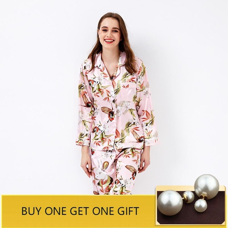 QWEEK Women Sleepwear Long Sleeve Pijama Mujer 2019 Fashion Print Silk Pyjamas Women   Pajamas     Sets   Elegant Satin Home Clothes