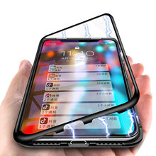 cell phone 360 shockproof cover metal bumper tempered Glass magnetic Adsorption FOR SAMSUNG Galaxy j8