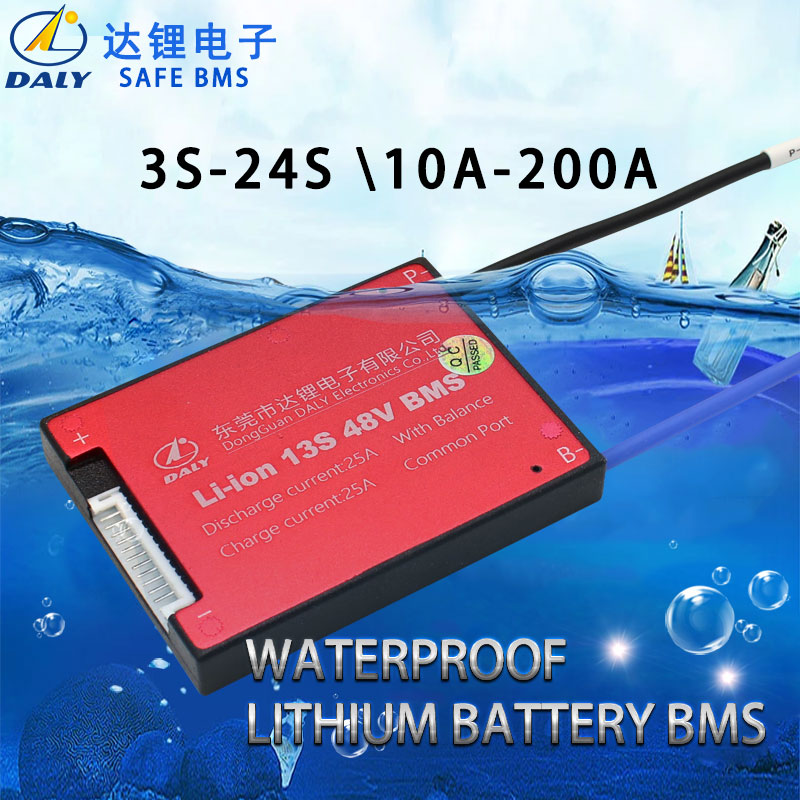 Daly 3.6V 3.7V 13S 48V E-bike Li ion battery 18650 BMS 15A 20A 30A 40A 50A 60A battery BMS Charging Voltage 54.6V With balance title=