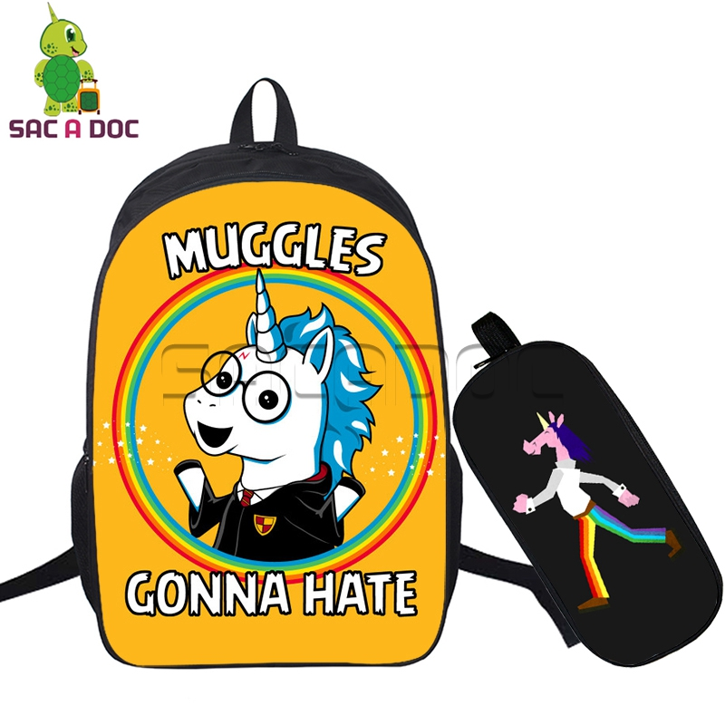 2 Pcs/set Backpacks Muggles Harry Unicorn Printing School Shoulder Bags for Teenagers Students Colorful Unicorn Primary Bookbags2 Pcs/set Backpacks Muggles Harry Unicorn Printing School Shoulder Bags for Teenagers Students Colorful Unicorn Primary Bookbags