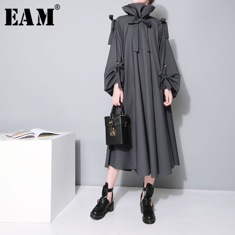 [EAM] 2019 Новое весенне-летнее серое длинное Бандажное платье с длинным рукавом и воротником-стойкой большого размера, свободное женское модно...