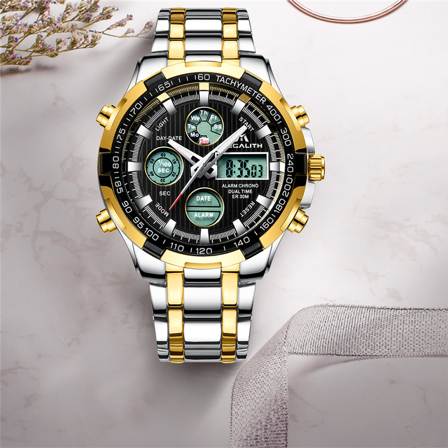 MEGALITH Top Brand Luxury Watch Mens Sports Waterproof Digital Gold Quartz Watches For Men Stainless steel Military Wristwatches