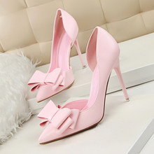 New Summer Women 10.5cm Pumps Sweet Bowknot High-heeled Shoes Thin Pink High Heel Shoes Hollow Pointed Elegant DS-A0004 2018 fashion delicate sweet bowknot high heel shoes side hollow pointed stiletto heels shoes women pumps