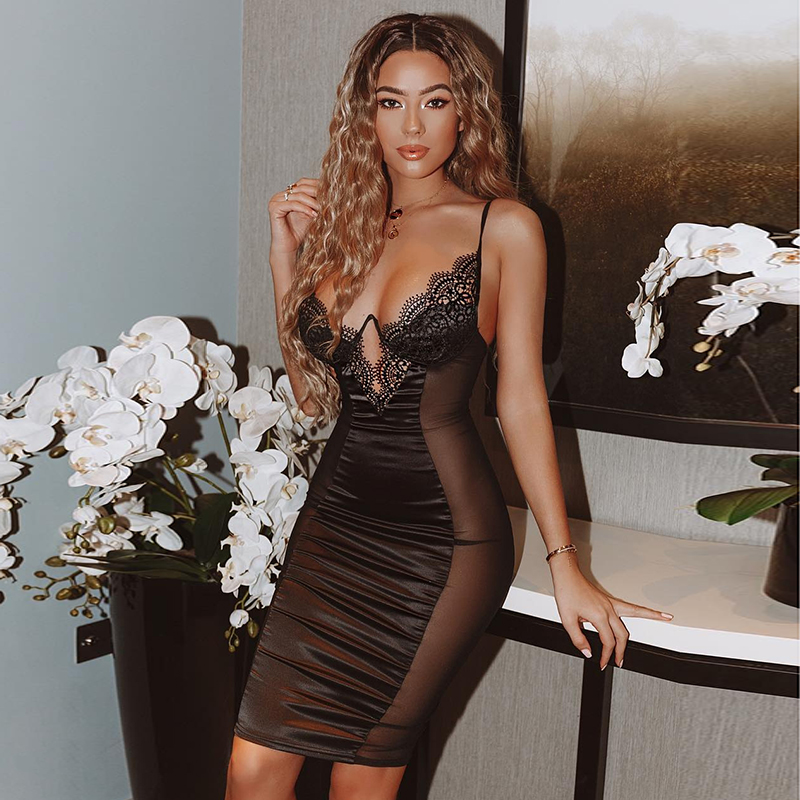 NewAsia Mesh Sexy Dress Women 2019 Summer Bodycon Dresses Bustier Satin Lace Side Sheer Cups Party Dress See Through