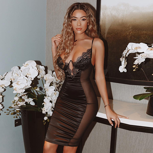 Image 2 - NewAsia Mesh Sexy Dress Women 2019 Summer Bodycon Dresses Bustier Satin Lace Side Sheer Cups Party Dress See Through