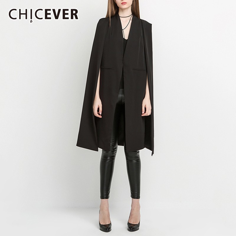 CHICEVER Women s Windbreakers V Neck Clock Sleeve Open Stitch Black Trench Coats For Women Windbreaker