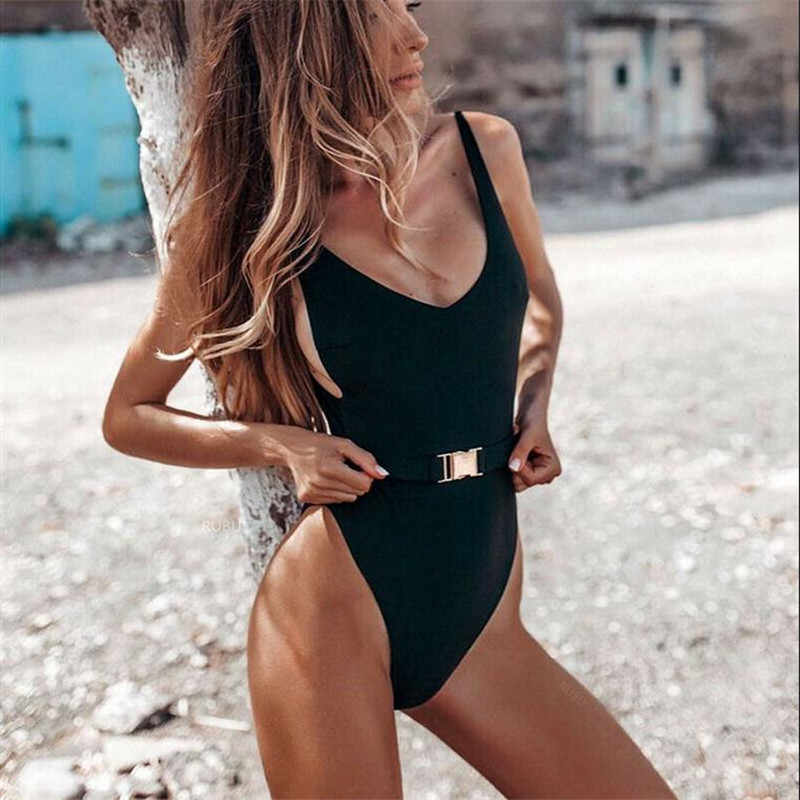 2019 Women Skinny Sexy One Piece Halter Bandage Swimsuit Open Back Tights Bikini Swimwear Beachwear