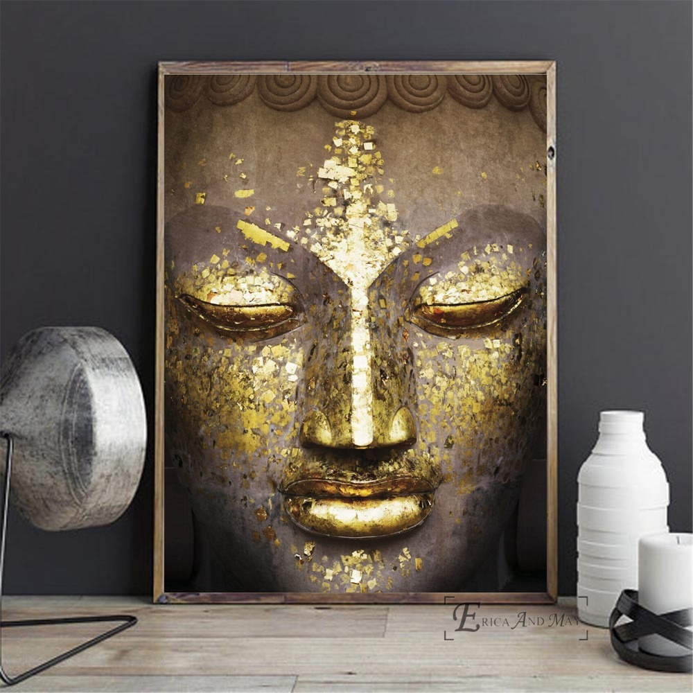 Abstract Canvas Poster Art-Pictures Wall-Painting No-Frame Gold Artwork Buddha Face Living-Room