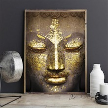 Buddha Face Gold Artwork On Sale Poster Wall Painting Living Room Abstract Canvas Art Pictures For Home Decor No Frame стоимость