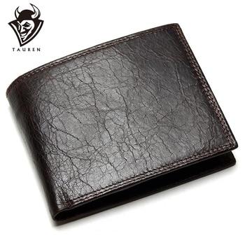 TAUREN 2020 New Men Wallet 100% Genuine Leather Crazy Horse Zippper Coin Pocket Top Grain Cow