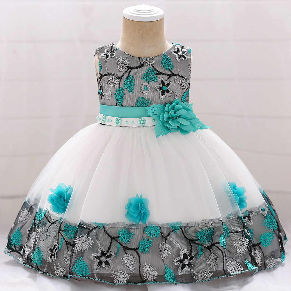 Розничная продажа, цветное кружевное платье с цветочным рисунком для маленьких девочек, элегантное платье-пачка с вышивкой, детское кружевное платье принцессы с цветочным рисунком, L5045XZ