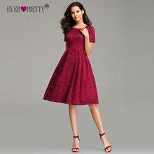 Платья для выпускного, Бургунди Ever Pretty EZ03061 элегантные трапециевидные короткие кружевные сексуальные вечерние платья с коротким рукавом и аппликацией