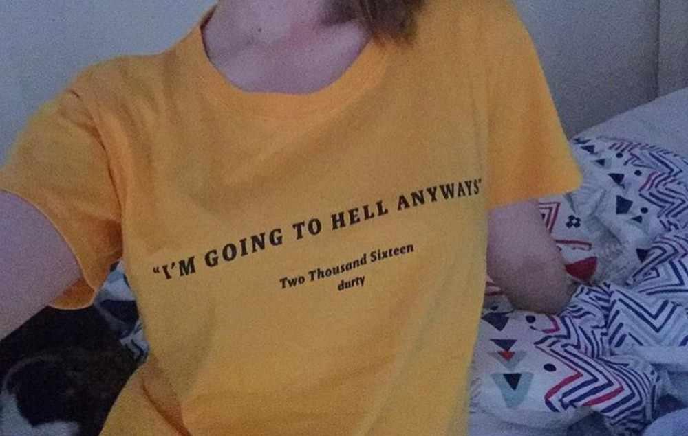 64c18bea6 ... I am going to hell anyways t shirt fashion yellow cotton shirt 90s  fashion women goth ...
