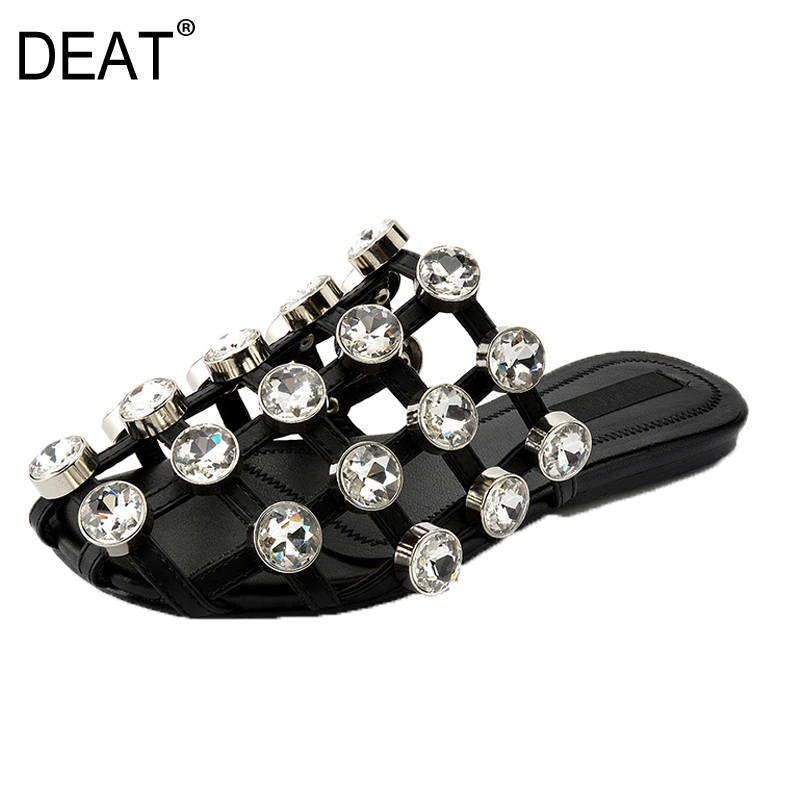 DEAT 2019 New Spring Summer Hollow Out Diamond Grid Mesh Brief Personality Outside Slippers Women
