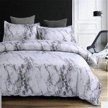 Padrão de pedra consolador conjunto cama queen size impressão reativa 2/3 pçs branco e preto mármore capa edredão sets40