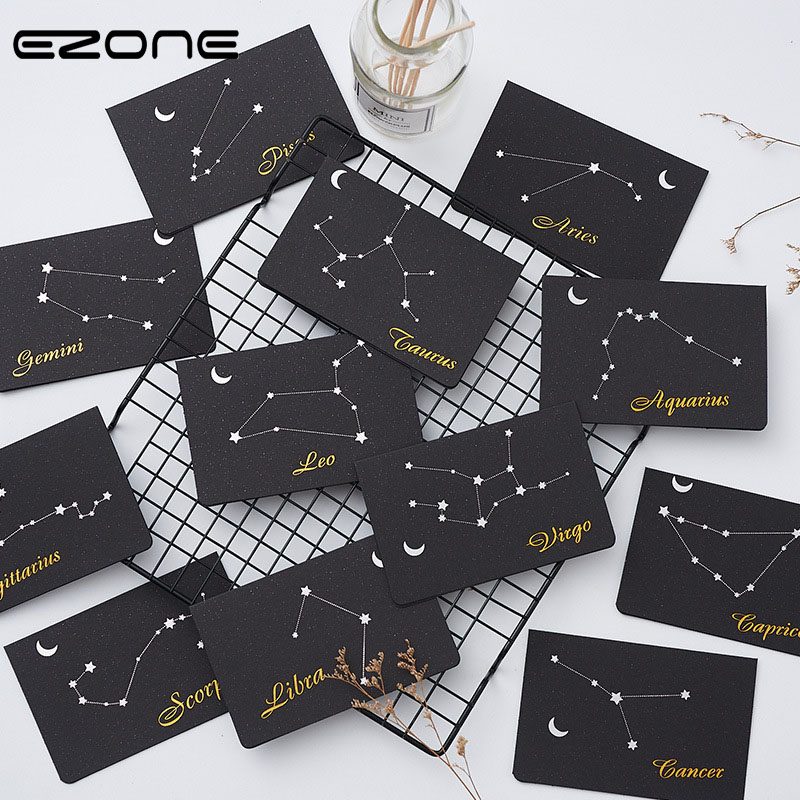 EZONE 12 Constellations Greeting Card+Envelope Set Birthday Christmas Valentine' Day Party Wedding Blessing Greeting Card