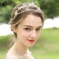 New Trendy Fresh Water Pearls Hairbands Leaves Tiara Handmade Hair Jewelry For Girls Soft Crown Vintage Headands