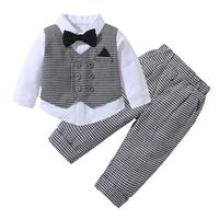 Toddler Baby Boys Outfit 3pcs Clothes Set Formal stripe Top Shirt+Pant Suit Set for party wedding birthday kid clothes
