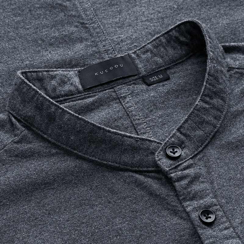 KUEGOU 2019 Sommer 100% Baumwolle Klar Shirt Männer Kleid Casual Slim Fit Kurzarm Für Männliche Marke Bluse Plus Größe kleidung 5859