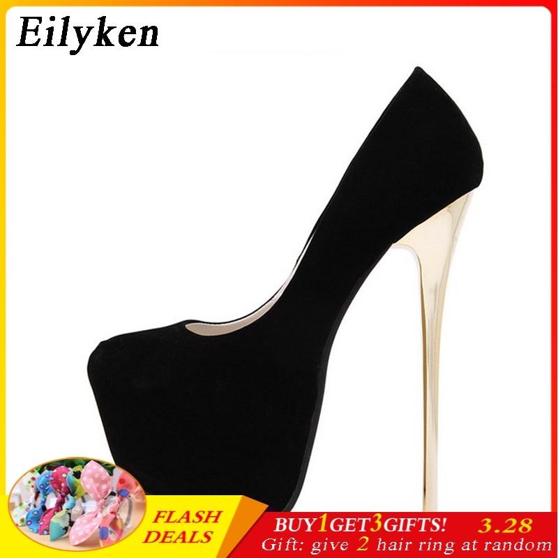 8f4a40d4637 Eilyken Sexy Pumps Wedding Women Fetish Shoes Concise Woman Pumps Latform Very  High Heel Stripper Flock Pumps 16 cm size 34-45