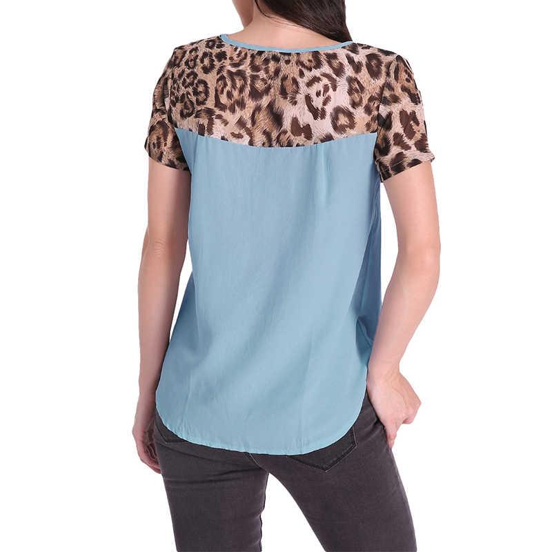 Chiffon Tops Blouse Vrouwen 2019 Zomer Patchwork Leopard Casual Losse O Hals Korte Mouw Blouse Shirt Femininas Blusas Plus Size