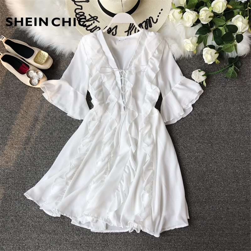 Runway 2019 Summer Designer New Women Dress Elegant White Black Ruffles Flare Sleeve Mini Dress Sexy Deep V Neck Chiffon Vestido